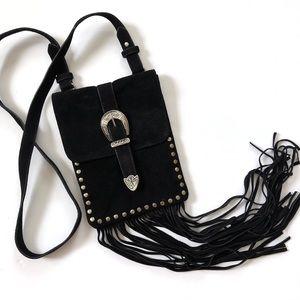 Forever 21 black suede fringe boho crossbody bag